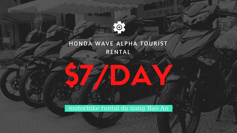 The Honda Wave Alpha is one of the most popular bikes in Vietnam. Very light, with excellent fuel economy.